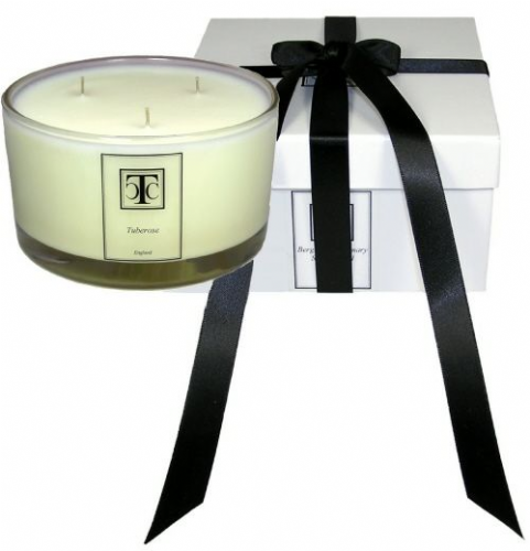 Tuberose Scented Candle 3 wick Glass Bowl 80 hour